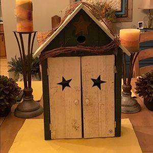 Birdhouse shadow box with shelving